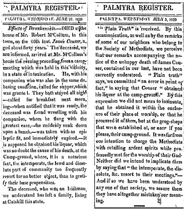 Palmyra register 28 June and 5 July 1820 drunken man dies at camp meeting.jpg