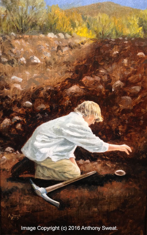 Joseph Smith locates a seer stone while digging a well. Image copyright (c) 2016 by Anthony Sweat.